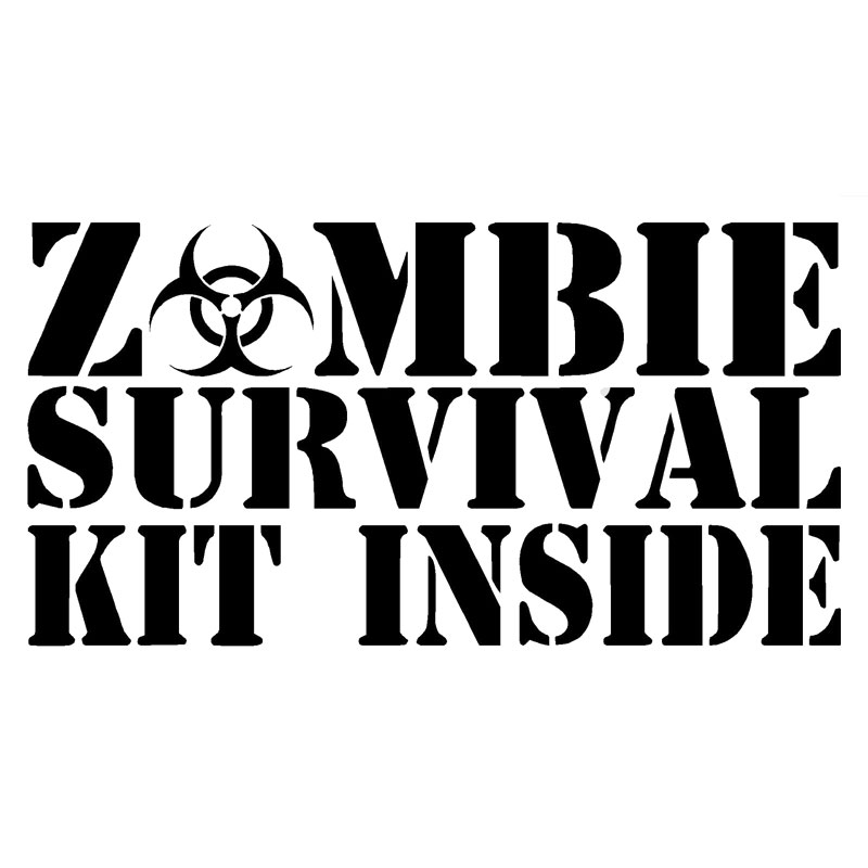 15.2CM*7.9CM Zombie Survival Kit Inside Decal Car Styling Accessories Fashion Funny Car Sticker Black Sliver C8-1040