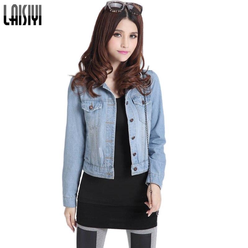LAISIYI New 2017 Fashion S-4XL 6 Size Women Denim Jackets <font><b>Jeans</b></font> Coat Classical Jacket <font><b>Jean</b></font> Coats Rivets Female Jackets ASCO10017
