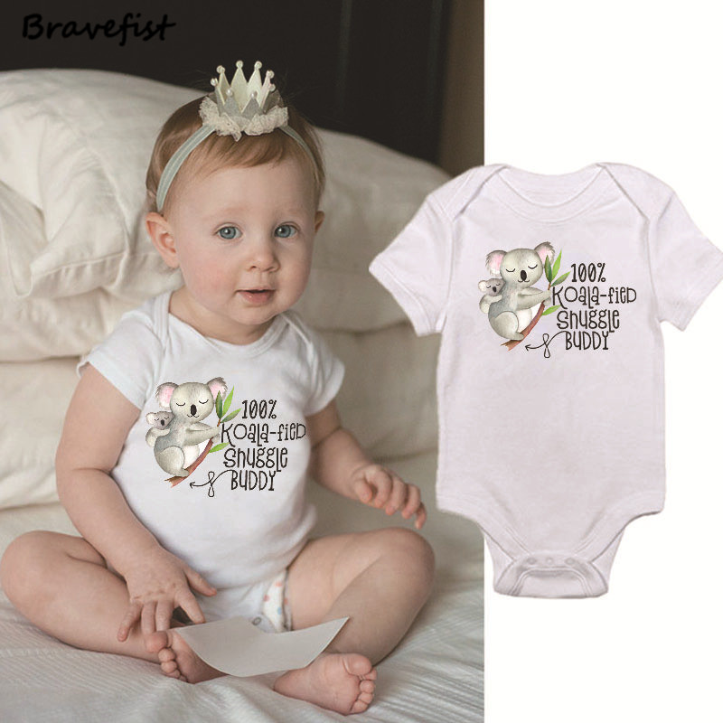 Cartoon Newborn Baby Clothes White Short Sleeve Baby Bodysuit Tiny Cotton Baby Clothes Onesie Koala Print Kids Overalls Jumpsuit