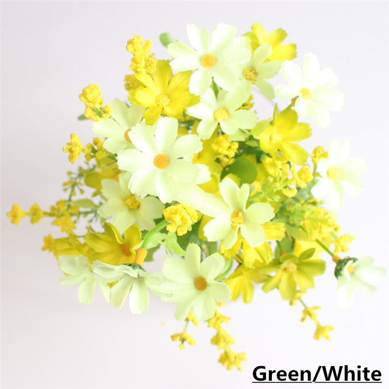 Cute Silk Daisy Artificial Flower With One Bouquet 7 Branch 28 Heads For Wedding Decoration 11