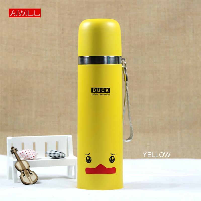 AIWILL 500ML/350ml Lovely Animal Pattern Vacuum Thermos For Women Kids water Bottle Stainless Steel Bullet garrafa termica Child