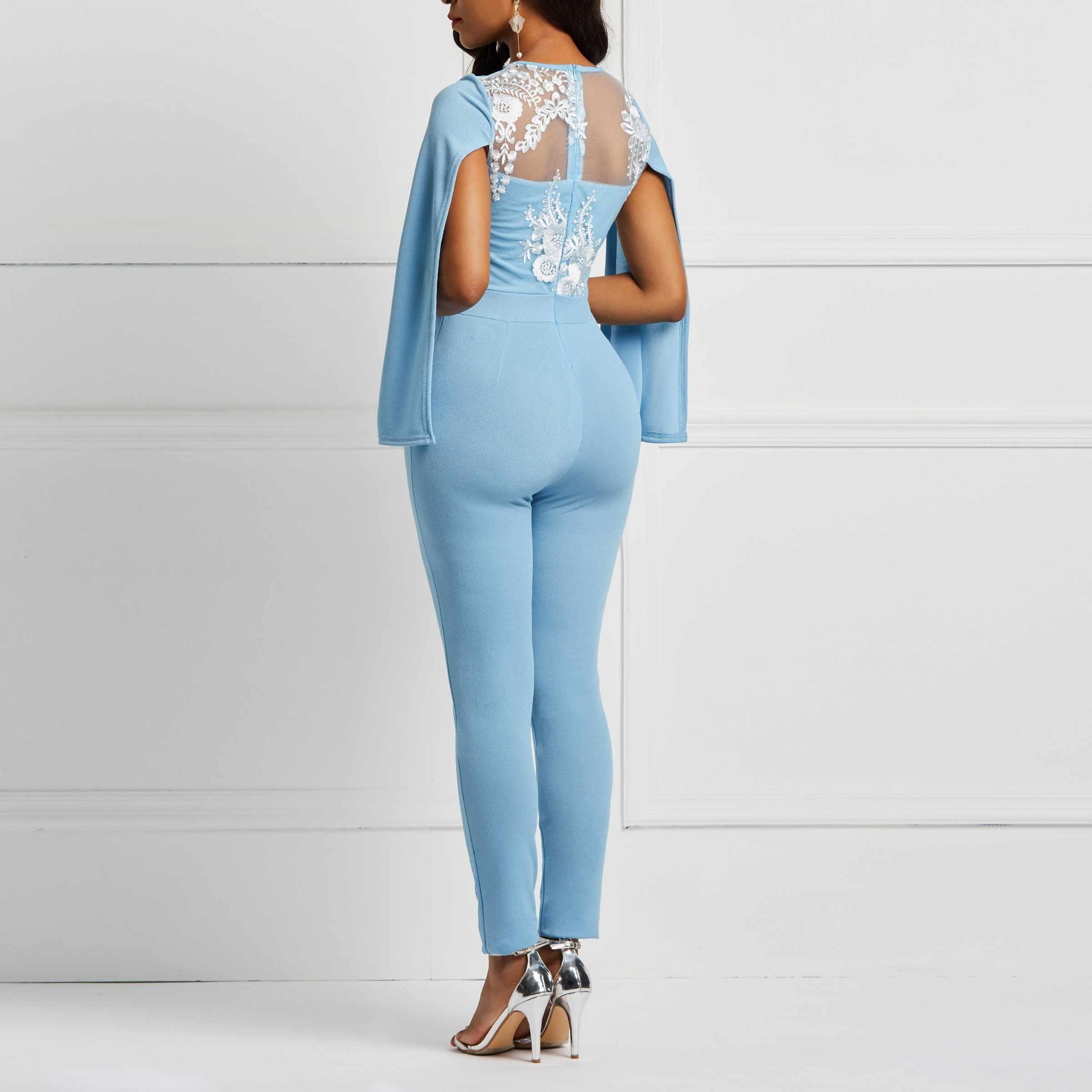 Женский комбинезон с цветным узором небесно-голубого цвета на весну и лето с кружевной вышивкой и открытой спиной, офисный Женский Длинный комбинезон-шаровары