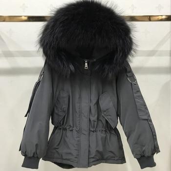 Large Real Raccoon Fur 2019 Women Winter Jacket Hooded Warm Female White Duck Down Jacket Medium Long Parkas Loose Women Coat 2