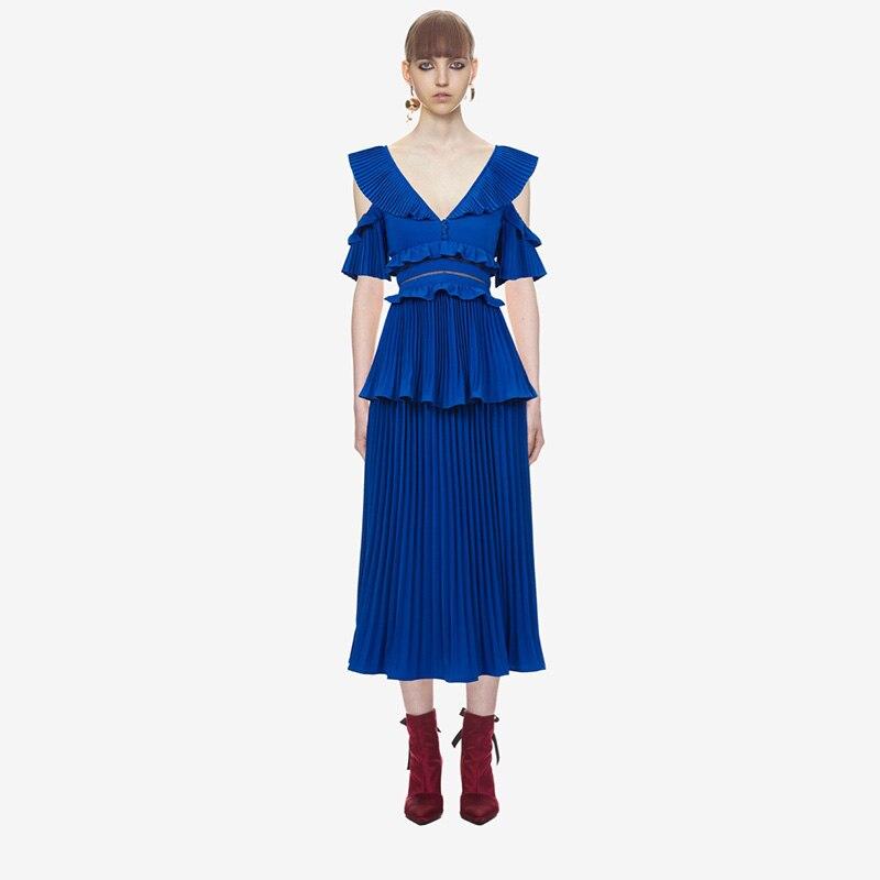 SP luxe 2018 été col en v profond bleu en mousseline de soie femmes robe Midi de haute qualité sans manches plissée femme robe