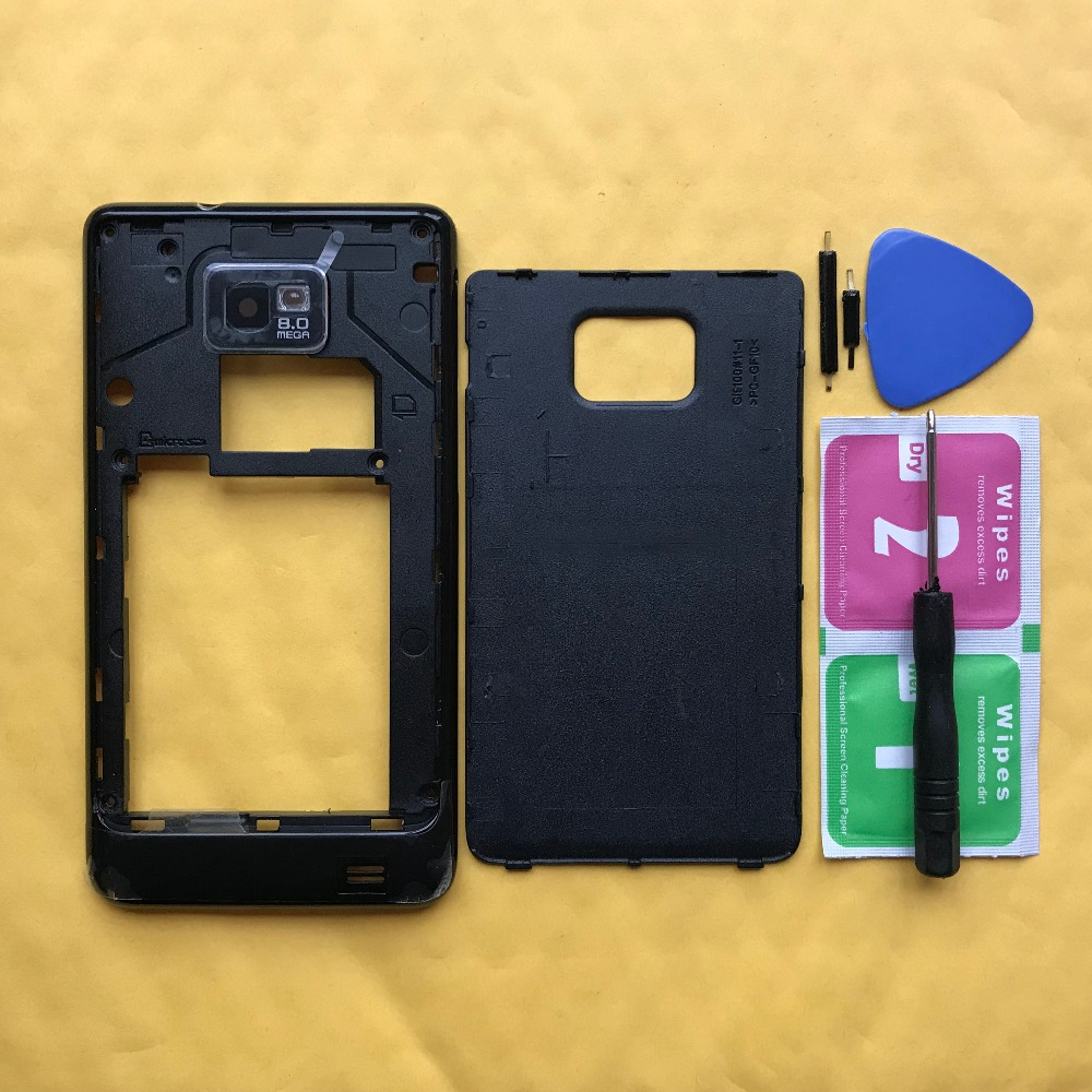 Original Phone Housing Cases For Samsung Galaxy S2 S II I9100 9100 Middle Frame With Back Panel Rear Battery Cover Door