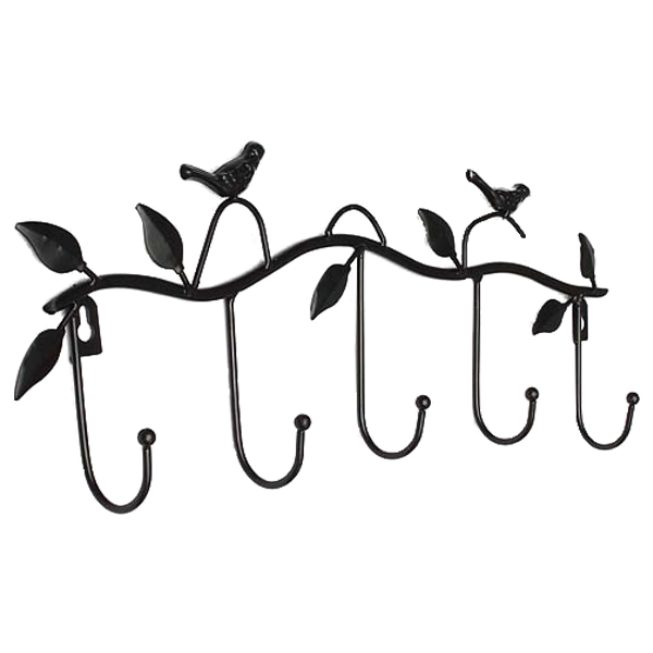 CNIM Hot Iron Birds Leaves Hat/Towel/Coat Wall Decor Clothes Hangers Racks With 5 Hooks Black