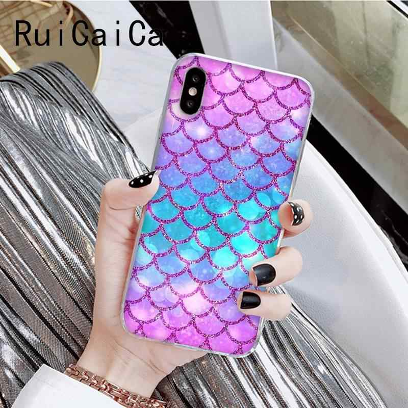 Ruicaicaファッションマーメイド魚スケールプリティガールズ電話カバーiphone × xsmax 6 6s 7 7 プラス 8 8 プラス 5 5s xr 11 11pro 11promax
