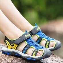 ULKNN childrens sandals big children summer kids Baotou beach shoes breathable comfort blue green good quality