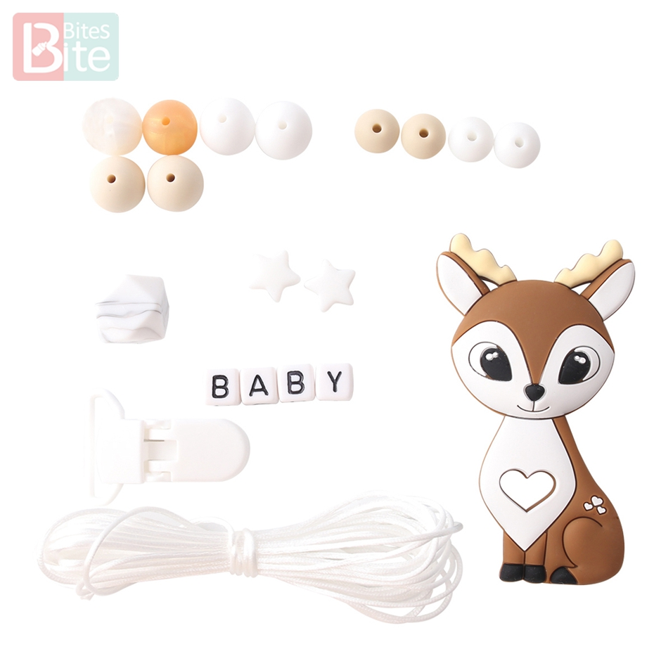Bite Bites 1set Silicone Baby Teething Deer Elk Perle Silicone Beads DIY Set Food Grade Silicone BPA Free Baby Teether
