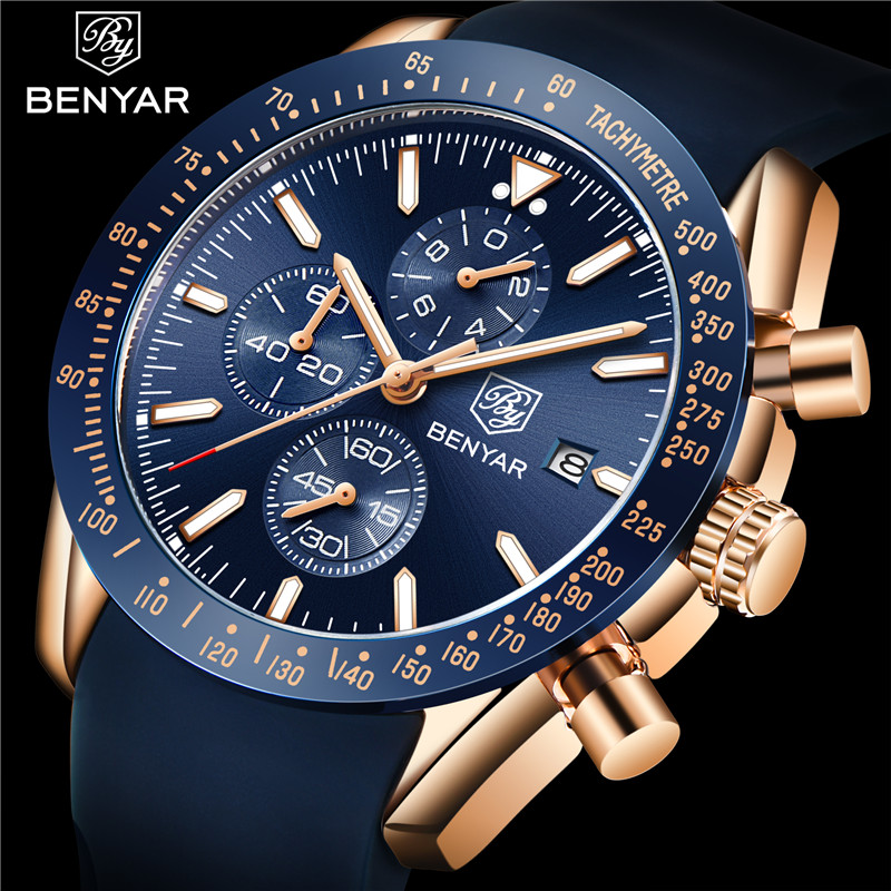 Relogio Masculino BENYAR Men Watch Top Brand Luxury Blue Chronograph Sport Male Clock Military Rubber Strap Quartz Wristwatch