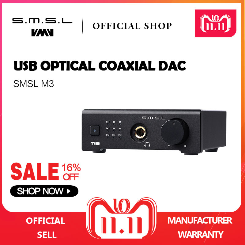 цена SMSL M3 Multi-function DAC All-in-one Headphone Audio Decoder Amplifier Powered By USB With USB Optical Fiber Coaxial Input онлайн в 2017 году
