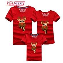 Familia 2019 bufanda de Navidad ciervos ropa de la familia madre hija camiseta ropa familia juego trajes de hijo de padre camiseta
