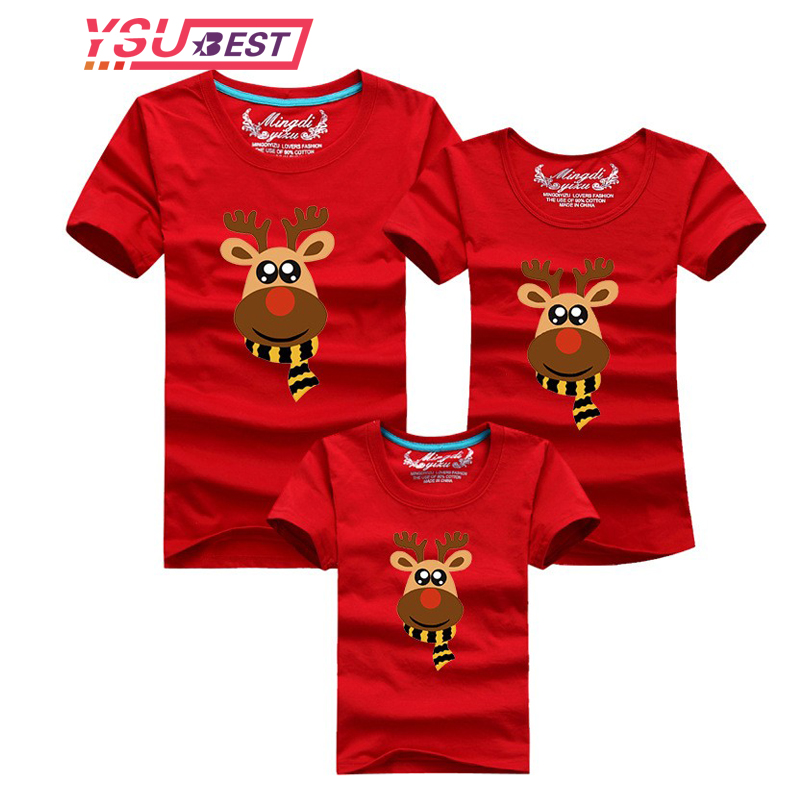 Family Look 208 Christmas Scarf Deer Family Clothing Mother Daughter T Shirt Clothes Family Matching Outfits Father Son T-shirt mother and daughter clothes short sleeved t shirt dresses family matching outfits baby girl clothes girls clothing long dress