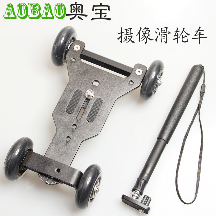 no00dC video dolly 4 wheel Camera Mute Rail Car Special Sliding camera Car Mini/ Desktop Drift Car Slr Photography track slider d800 6d slr camera mobile desktop mute rail car three 360 degree rotation