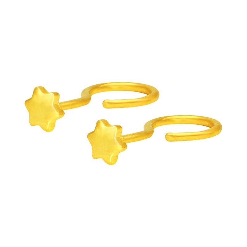 Boucles d'oreilles en or jaune 24 K pur femmes boucles d'oreilles étoile 0.33g