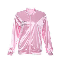 Halloween Pink Lady Retro Jacket Womens Fancy  coat Grease Costume Cheerleader 2016 Autumn fashion jacket