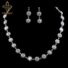 TREAZY Silver Color Crystal Bridal Jewelry Sets Luxury Flower Choker Necklace Earrings Wedding Jewelry Sets for