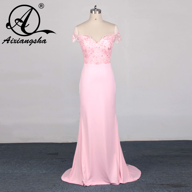 vestidos 2018 beach maid of honor pink stain lace mermaid