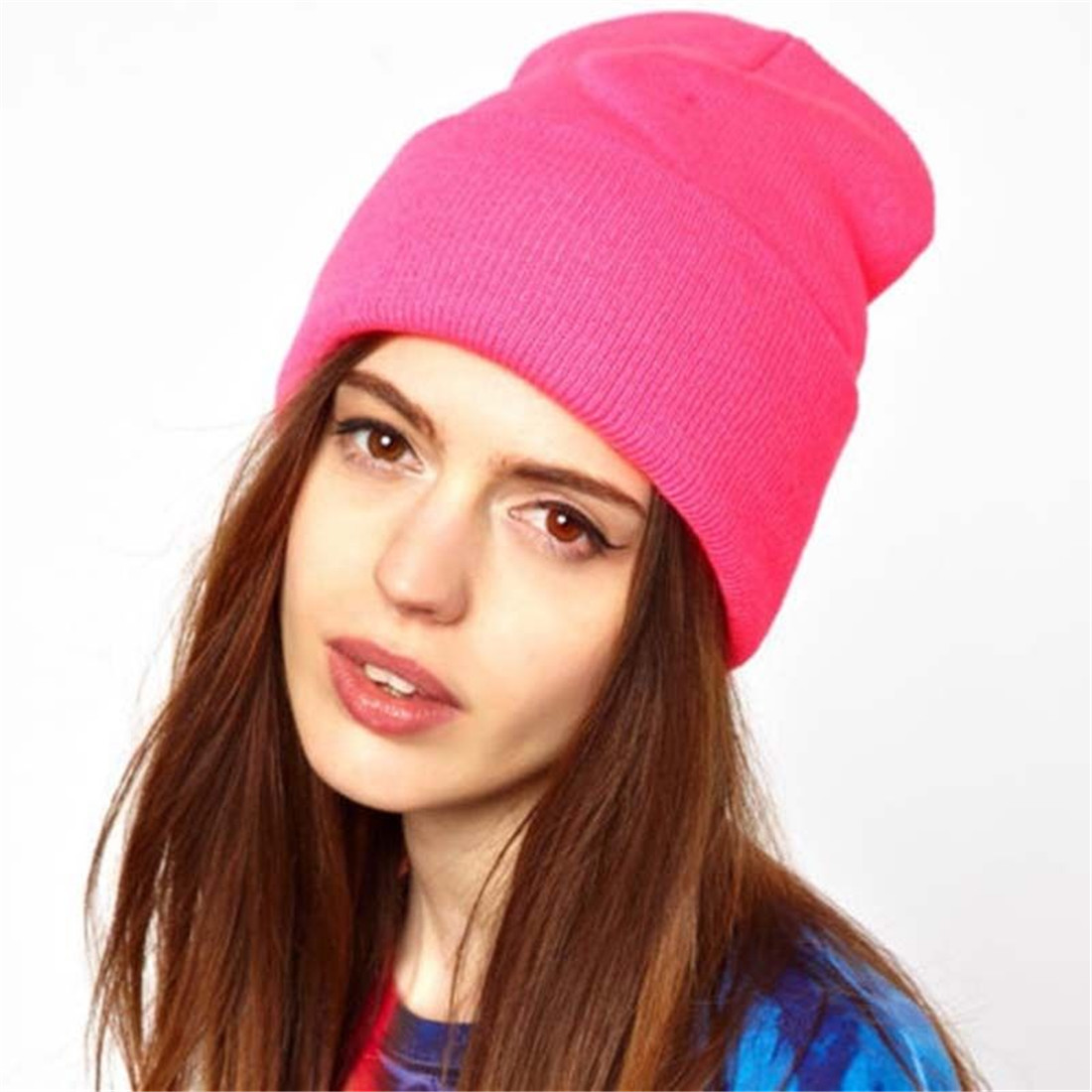 Knitted Beanie Hats Balaclava-Hats Earwarmer Black Winter White Women's A-Cap Female