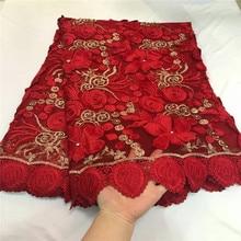 2018 Del Merletto Nigeriano Ultime Africano Del Merletto 2018 Da Sposa In Pizzo Tessuto di colore Rosso Africano di Alta Qualità Strass Tessuto di Pizzo 5Yards /Lot