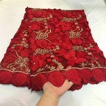 2018 в нигерийском стиле кружева последние Африканские кружева 2018 люкс кружевной ткани красного цвета в африканском стиле высокое качество Стразы кружевной ткани 5 ярдов/ много