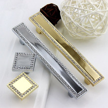 Crystal knob handle Silver gold Glass Drawer Pull Handle cabinet Kitchen Door knobs pulls Decorative Hardware