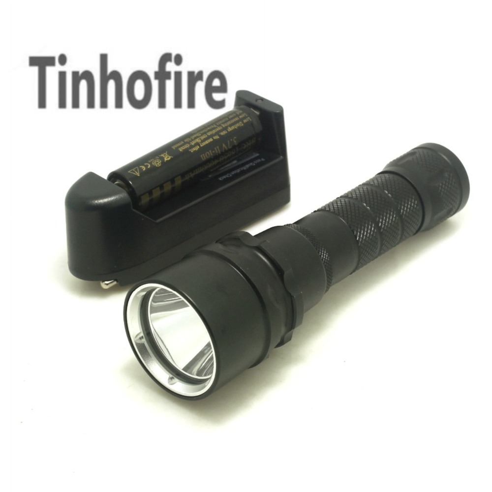 Tinhofire DV198 Professional Diving Cree L2 LED 2000 Lumen 150m Diving Flashlight Torch Light With Battery and Charger tinhofire 6870 cree xm l 2 2000 lumens l2 led flashlight torch light lamp micro usb input 5v charger with battery