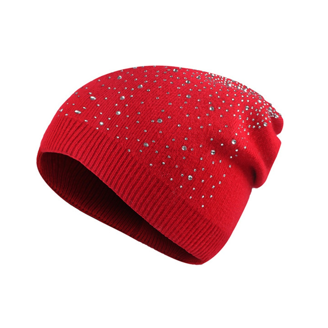 2017 fashion hot sale new autumn and winter rabbit fur with knitted hat keep warm red Paste drill hat women caps high quality rabbit hair lady autumn winter new weaving small pineapple fur hat in winter to keep warm very nice and warm comfortable