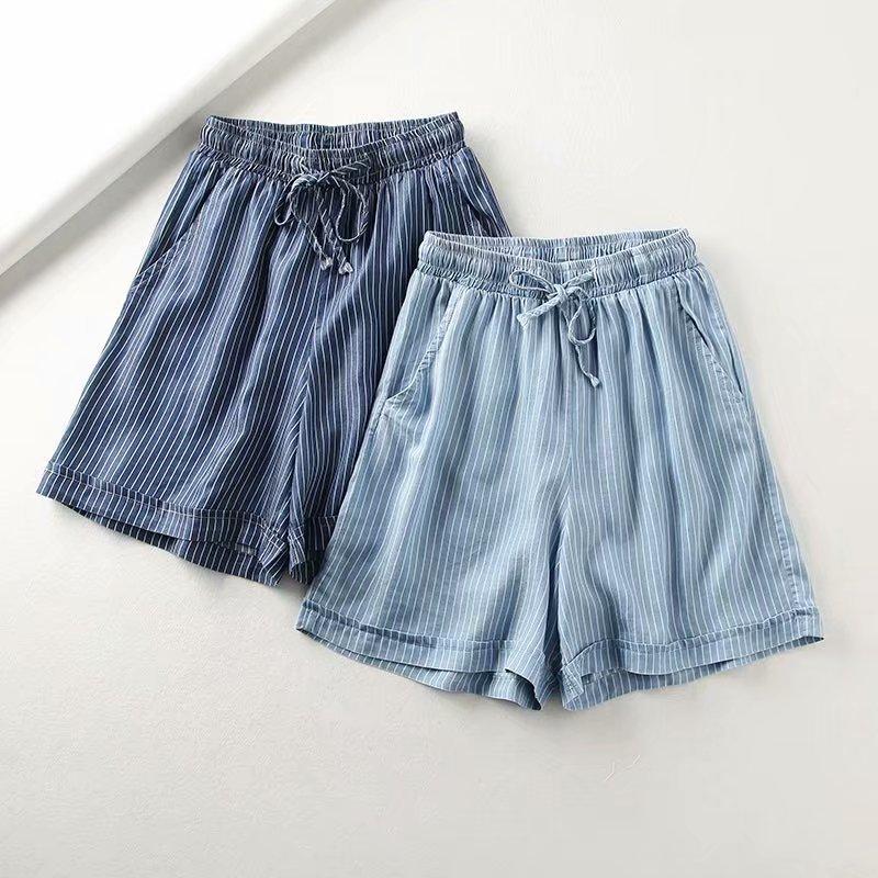 2019 Women Summer High Waist Drawstring Striped Casual Shorts Female Short Pant Jeans