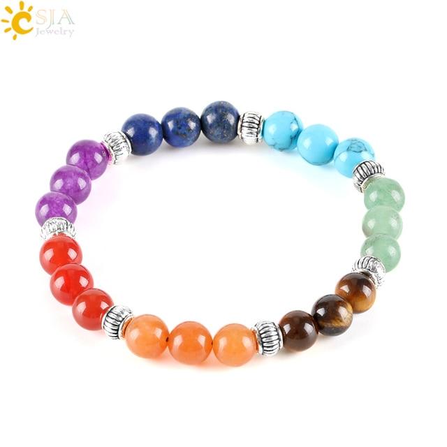 CSJA 7 Chakra Stones Yoga Đồ Trang Sức Đàn Hồi Strand Charms Bracelet đối với Phụ Nữ Cầu Vồng Tự Nhiên Đá Bóng Bead Món Quà Kỳ Nghỉ E283