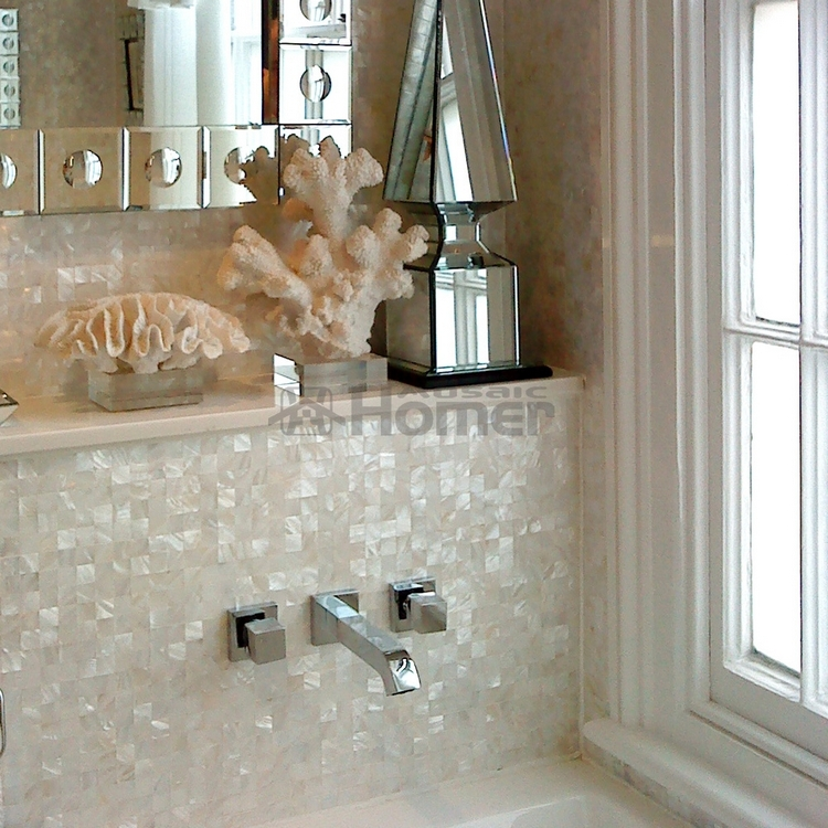 Seamless Groutless Pure White Mother Of Pearl Mosaic Mesh Backing Kitchen Backsplash Tiles Bathroom Shower Wall In Stickers From Home