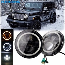 Toyota Land 7inch Projector Headlight H4 H13 DRL 7 Round LED Headlights Halo Angle Eyes For Jeep 97-2016 Wrangler JK LJ TJ