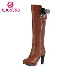311e9f560 JOJONUNU tamaño 32-48 mujeres tacones altos botas plataforma Beads mujeres  rodilla botas de moda botas largas calientes señora d.