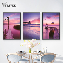 Rosy Dawn Gallery Canvas Painting Sea Abstract Wall Art Pictures Prints On Poster Home Decoration