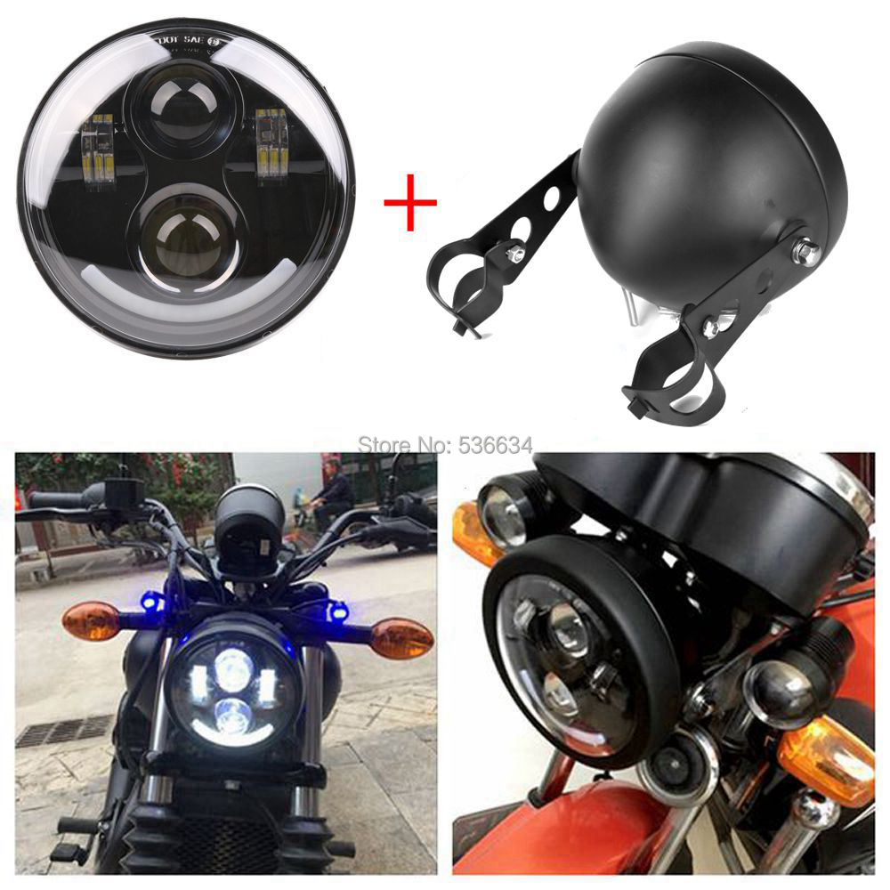 40W/30W 5.75 inch Led Headlight with Angel Eyes + Led Headlight Mount Bracket Housing For 2007-2011 Night Rod Special VRSCDX