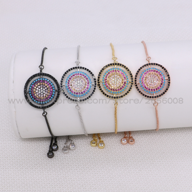 Round rainbow colors bracelets for women pave tiny cubic zircon adjustable  chain Macrame jewelry for women adbe8aeb463d