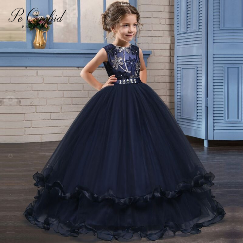 PEORCHID Navy Blue Flower Girl Dress Kids Wedding Party Gown Children Ball Gowns For Girls Birthday Party Dress For Wedding 2019