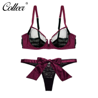 COLLEER Ultrathin Bra Set Smooth Satin Fabric Bow Underpants Sexy V Neck Triangle Cup Lingerie Adjustable