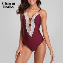Charmleaks Women One Piece Swimwear Sexy Deep V Lace Swimsuit Monokini Push-up Bathing Suit Bikini