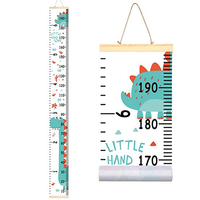 Kids Dinosaur Growth Chart Baby Roll-up Wood Frame Canvas Removable Wall Hanging Height Ruler Wall Art Decor For Nursery Room