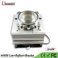 LED Heat sink with Fan Cooler+44MM Lens 60 90 120 Degree+Reflactor+Bracket Holder Aluminum Radiator For 20 30 50 100W Grow light