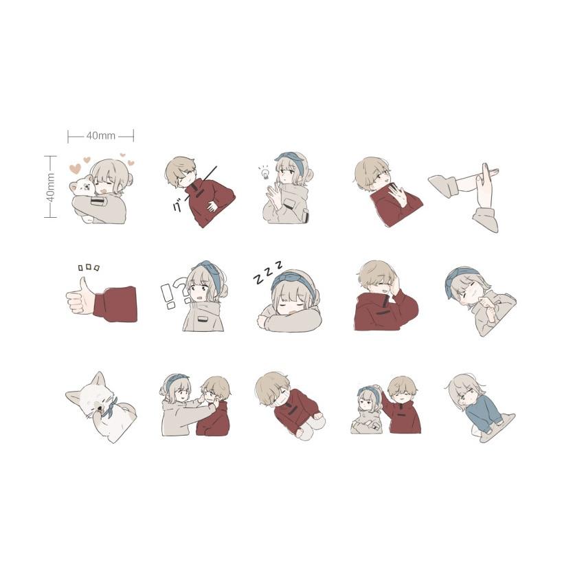 Купить с кэшбэком 45pcs/box Lovely Love Overture Mini Cartoon Paper Stickers Planner Scrapbooking Stationery Sticker School Supplies