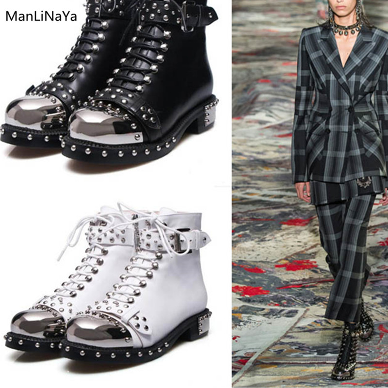 Silver-tone Metal Hardwear Runway Ankle Boots Rivet Buckle Belt Women  Leather Boot with Studs Cross-tied Female Motorcycle Boots 26b0146a88e2