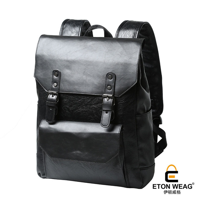 6cc31787e2a3 ETONWEAG Brands Cow Leather Backpacks For Teenage Girls Black Fashion  School Bags For Women 2018 Cover Travel Luggage Laptop Bag