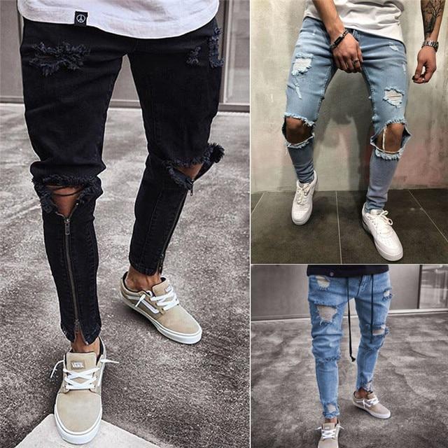 c085279db04 HIRIGIN Men s Ripped Hole Jeans Super Skinny Slim Fit Denim Pants Destroyed Frayed  Trousers
