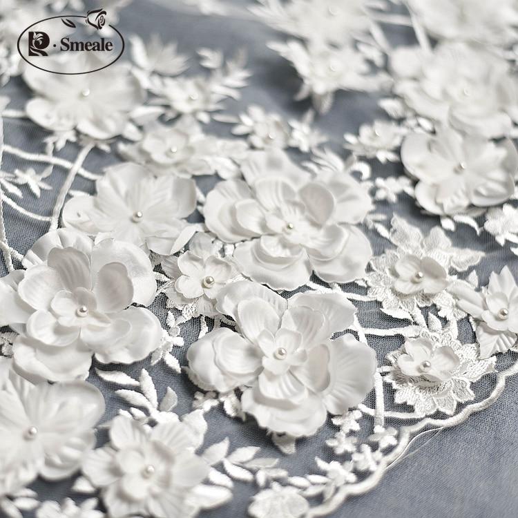 Image 3 - Ivory White Wedding Dress Lace Fabric, 3D Chiffon Flowers Nail  satin Bead High End European Lace Fabric Free Shipping RS583dress lace  fabricwedding dress lace fabriclace fabric
