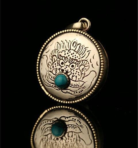 TGB253 Тибетский амулет кулон летающий дракон молитва медальоны-коробки для мужчин