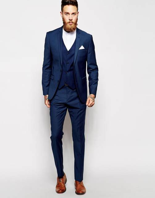 2017 New Arrival Men Tuxedos Blue Wedding Suits For 3 Pieces Slim Fit Moning Groms Groomsmen K2
