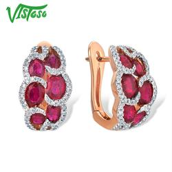 VISTOSO Echtem 14K 585 Rose Gold Ohrringe Für Frauen Glamorous Phantasie Rubin Funkelnden Diamant Elegante Trendy Luxus Edlen Schmuck