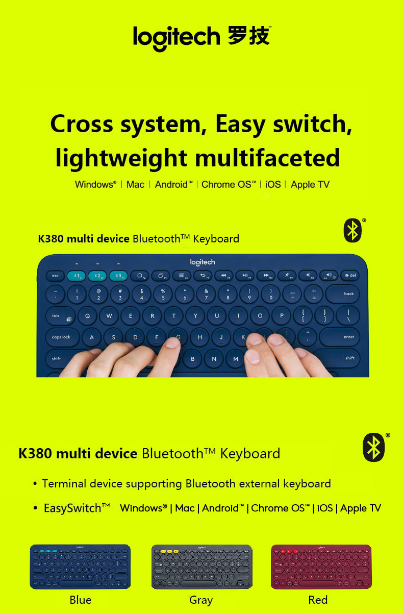 US $34 23 23% OFF|Logitech K380 multi device Bluetooth Keyboards Ultra Mini  Mute computer keyboard -in Keyboards from Computer & Office on
